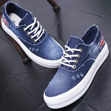 NALIMEZU Europe women shoes 2016 spring autumn canvas shoes heavy-bottomed platform washed denim zapatillas mujer 35~40 AA007