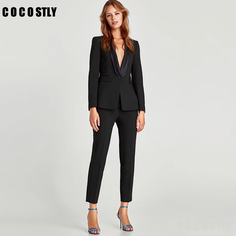 Black Pant Suits For Women Business Suit 2 Piece Set Ladies Office Lady Uniform Formal Female Trouser Suit Women (Jacket+Pant)