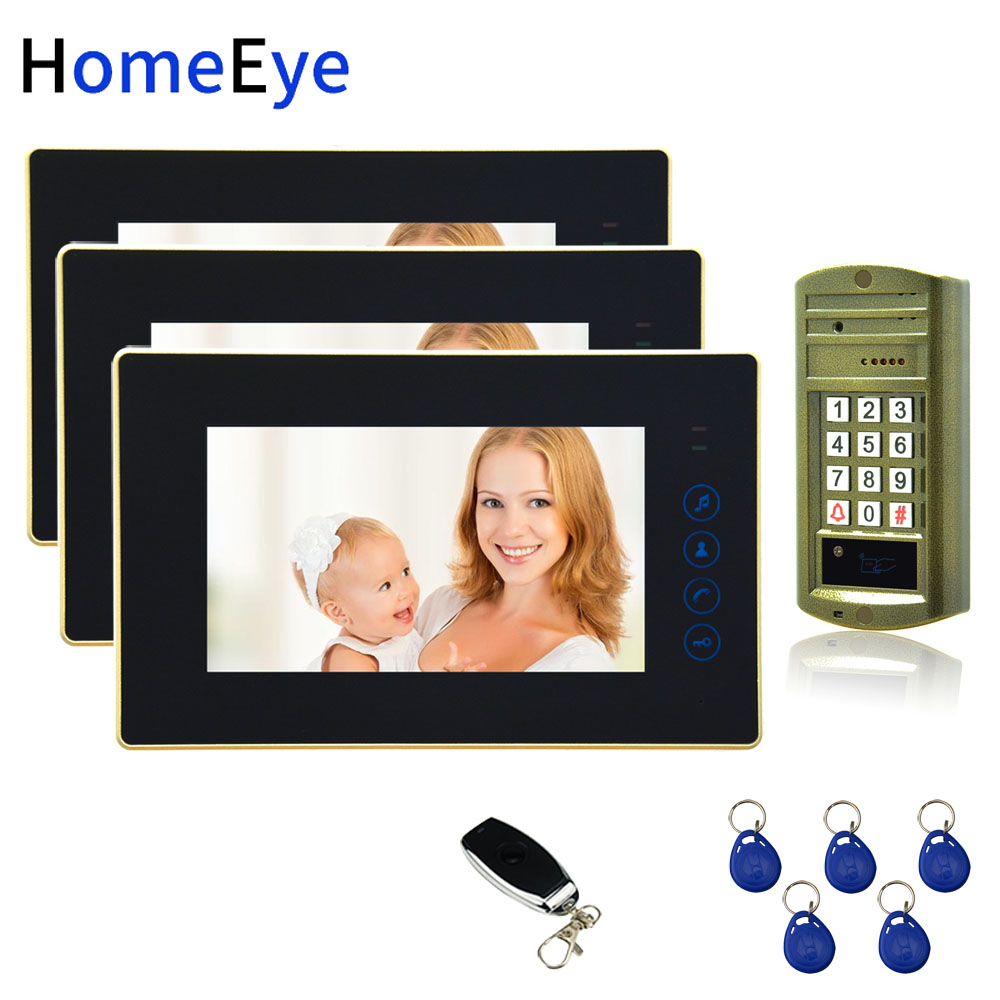 7'' Video Door Phone Video Intercom Door Bell Password+ID Card Home Access Control System 1200TVL Waterproof Touch Button 1 To 3