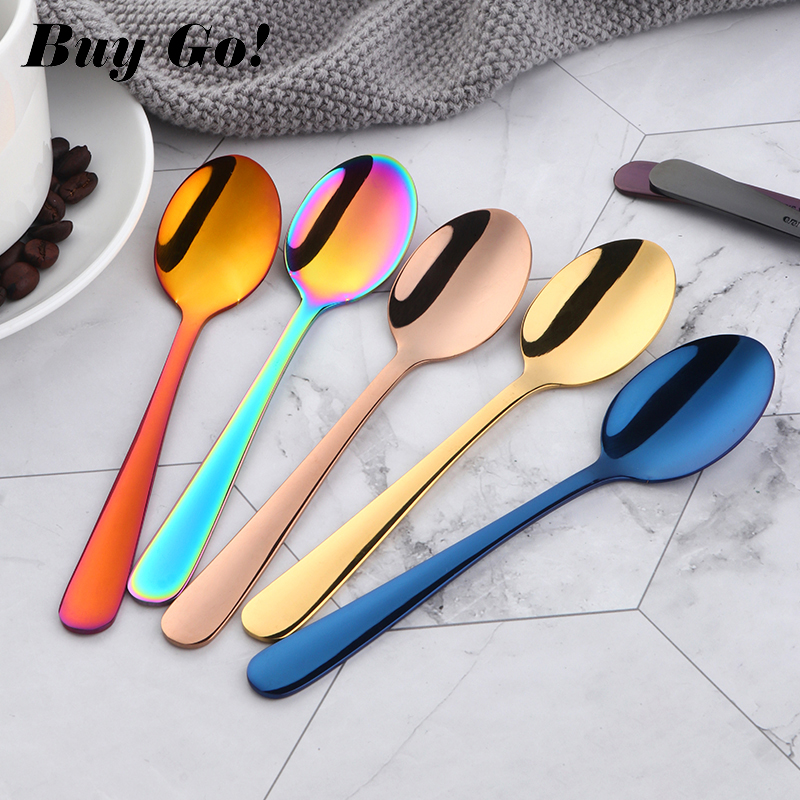 Rose-Gold Mirror Scoop Tea Spoon Stainless-Steel Party Silver Small Colorful Luxury Tableware
