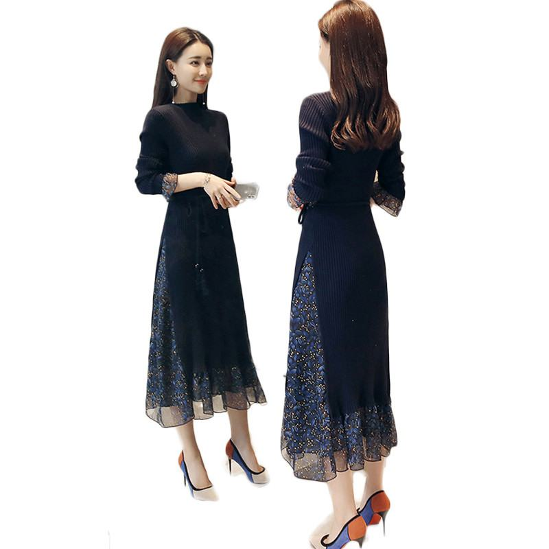 01bd413278a Schlanke Warme Frühling Herbst Winter Mode Elegante O Frauen Falten Lange  Pullover Lose X108 ansatz Kleid Weibliche 2019 Gestrickte PkiuXZOT