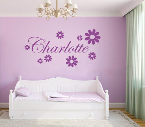 Us 10 11 39 Off Daisy Flowers Girls Personalised Name Bedroom Wall Art Kids Nursery Wallpaper Vinyl Decal Home Decor In Wallpapers From Home
