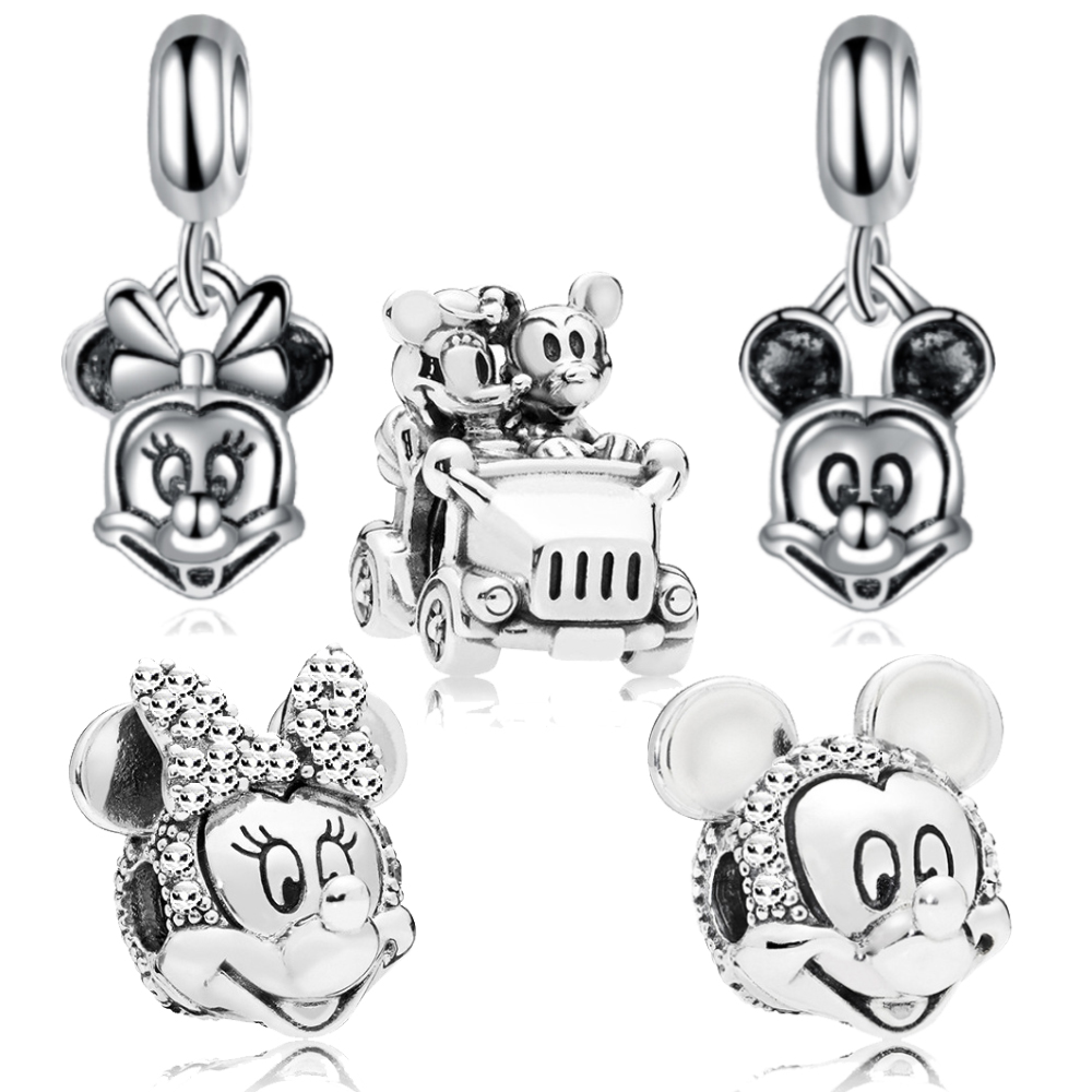 Minnie & Mickey Car Charm Beads & Pendant Fit Pandora Bracelet For Women Jewelry DIY Making Handmade Gift