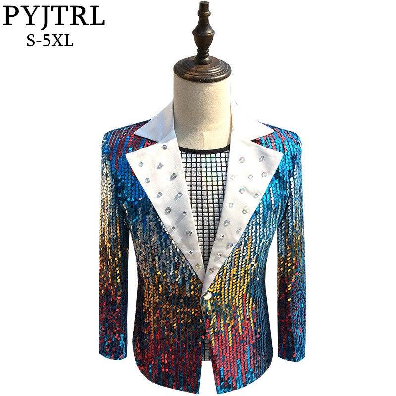 PYJTRL Hommes Mode Unique Bouton Cristal Revers Coloré Paillettes Slim Fit Blazer Nuit Club DJ Chanteur Parti Costume Costume Veste