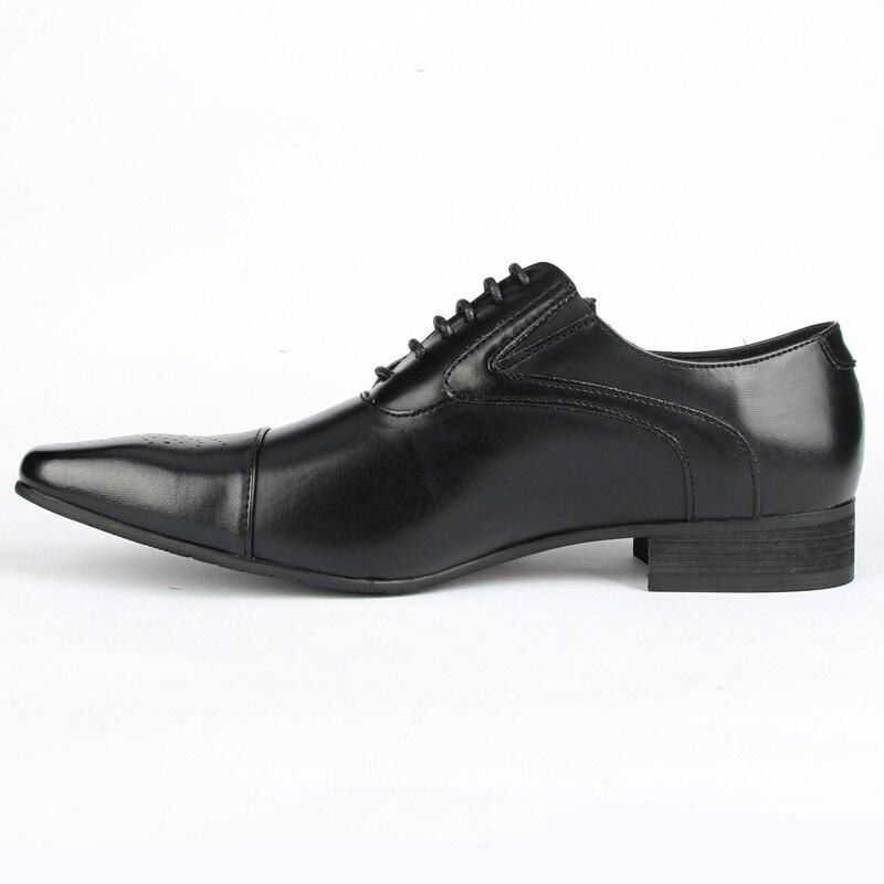 Роскошные мужские официальные туфли из натуральной кожи с острым носком; высококачественные Мужские модельные туфли оксфорды из коровьей кожи; размеры 38 48 - 4