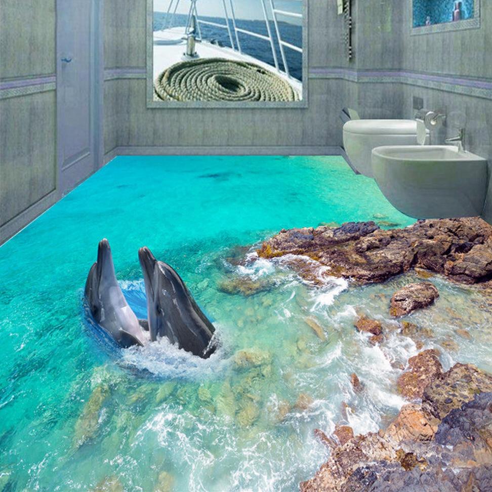 3D Floor Wallpaper Custom Wall Mural Underwater World Dolphin Bathroom Floor Sticker Decor PVC Self-adhesive Vinyl Wall Paper 3d visual volcano floor vinyl wall sticker