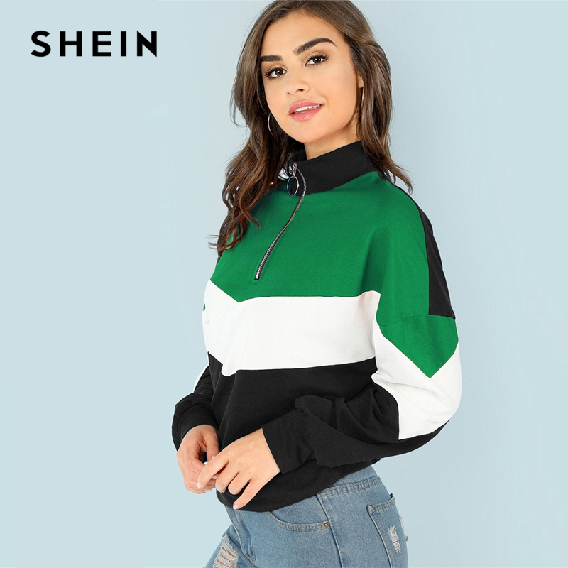 SHEIN Multicolor Elegant Casual O-Ring Zip Front Cut And Sew Colorblock Stand Collar Sweatshirt 2018 Autumn Women Sweatshirts