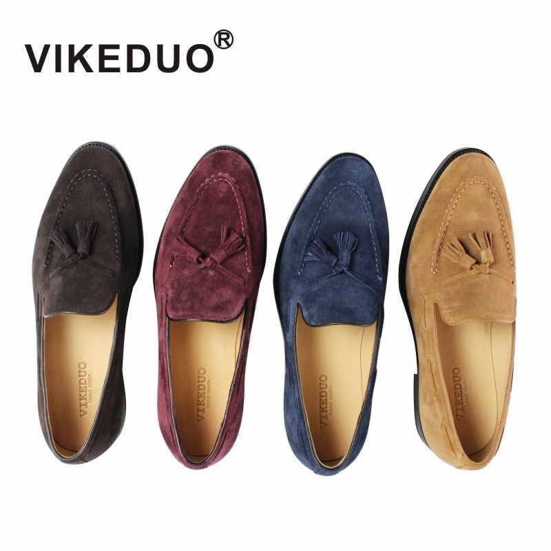 VIKEDUO/Летние повседневные лоферы; Мужская обувь; коллекция 2019 года; замшевая Мужская обувь ручной работы; модная свадебная обувь с кисточками; Sapato; популярная обувь; Zapato
