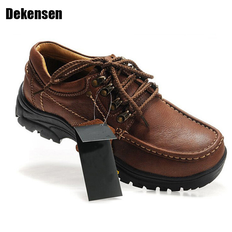 2017 Mens Genuine Leather Oxfords Shoes Casual Business Shoes Mens Brand Round Toe Lace-up shoes Man Flats Outdoor Walking Shoes top quality crocodile grain black oxfords mens dress shoes genuine leather business shoes mens formal wedding shoes