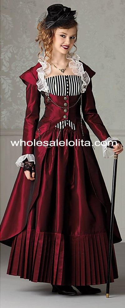 3 stk Burgunder viktoriansk Vintage Steampunk kjole Halloween - Kvinneklær