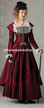 3 Pieces Burgundy Victorian Vintage Steampunk Dress Halloween Masquerade Ball Gown