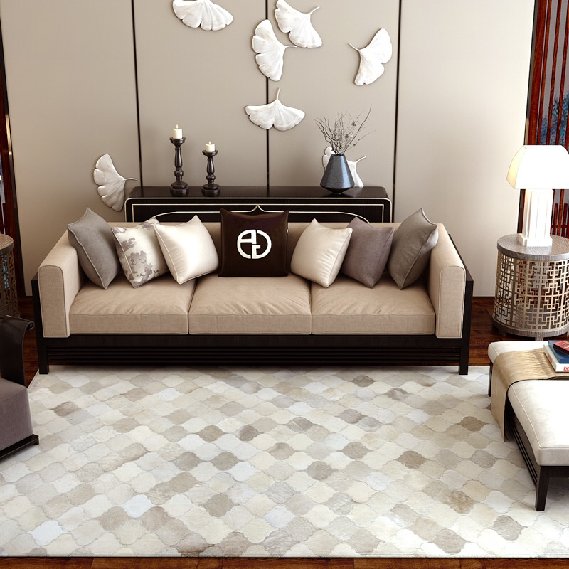 US $449.0 |Modern minimalist ins Scandinavian living room coffee table  patchwork cowhide leather rugs fashion carpet-in Carpet from Home & Garden  on ...