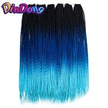 DinDong Crochet Braid Box Braids 24 inch High Temperature Synthetic Braiding Hair Black Burgundy Blond Brown Crochet Hair(China)