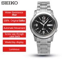 100% מקורי Seiko שעון מס 5 עסקי גברים של אוטומטי מכאני שעון עמיד למים חכם זוהר כפול לוח שנה שעוני יד