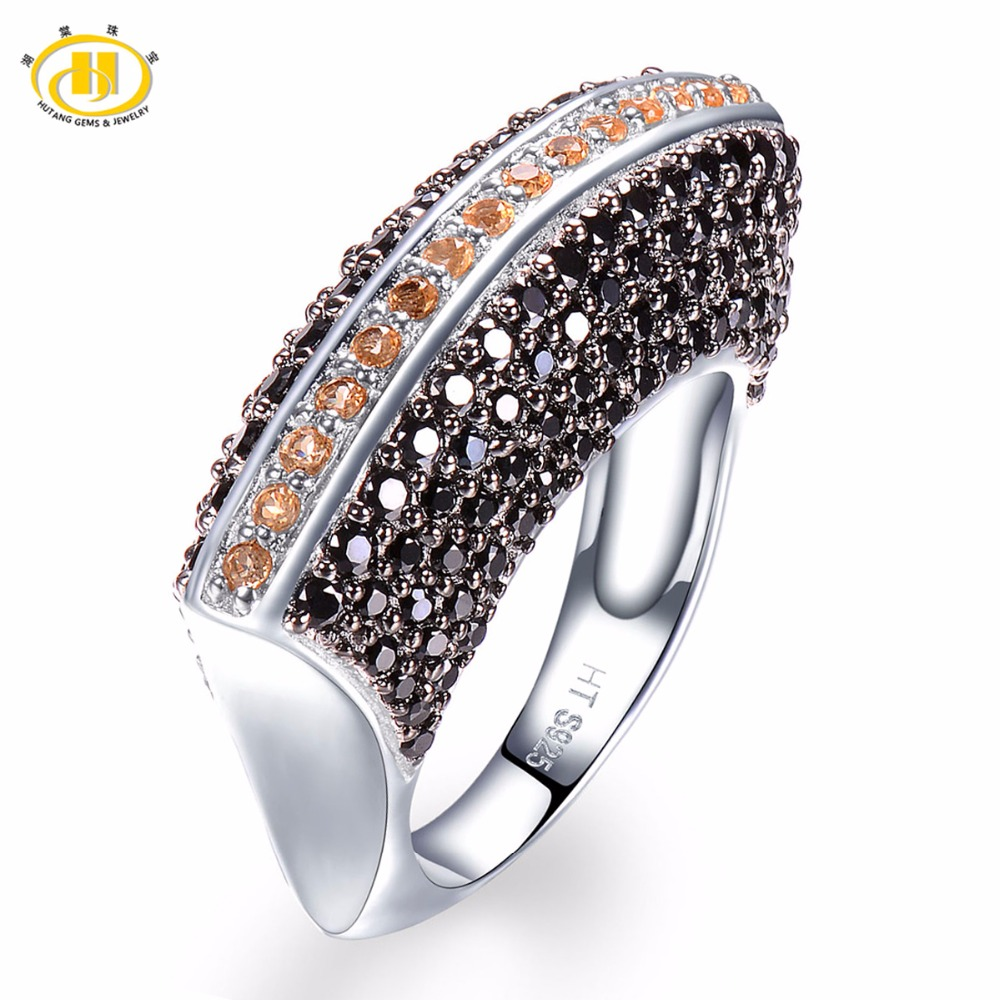Hutang Natural Gemstone Wedding Rings Citrine Black Spinel Solid 925 Sterling Silver Ring Fine Stone Jewelry