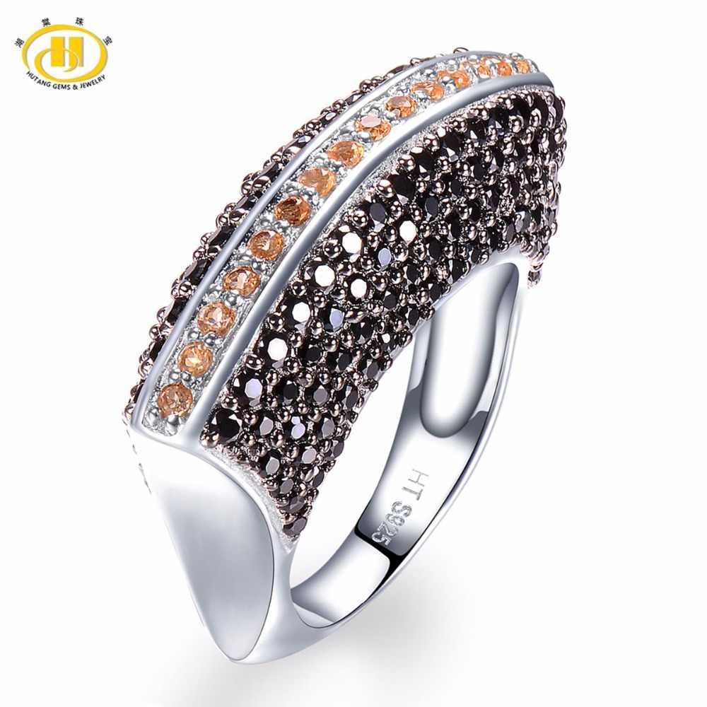 Hutang ผู้หญิงแหวน Citrine citrine สีดำ Spinel Solid 925 เงินแหวนเครื่องประดับสำหรับของขวัญ