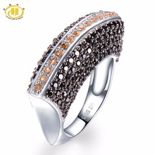 ФОТО hutang natural gemstone citrine and black spinel solid 925 sterling silver ring fine jewelry for her's presents gift new arrival
