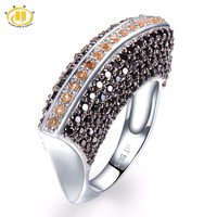 Hutang Natural Gemstone Citrine And Black Spinel Solid 925 Sterling Silver Ring Fine Jewelry For Her