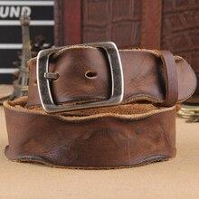Crazy horse cinturón de cuero de vaca, cinturón de cuero genuino para hombres, hebilla de pin de color marrón, Correa vintage cinto para Vaqueros