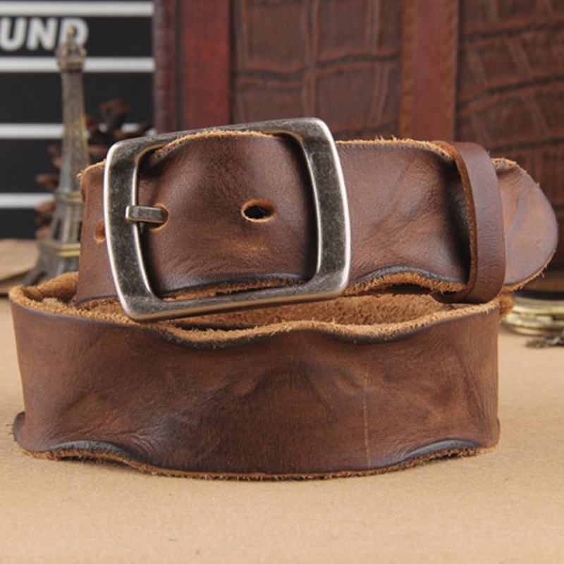 Crazy Horse Cowhide Leather Belt Genuine Leather Belt For Men Brown Color Pin Buckle Jean's Strap Vintage Cinto