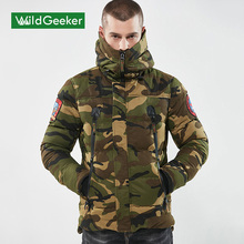 Wildgeeker Men's Winter Parkas 2017 Hooded Camouflage Casual Thick Men's Jacket Fashion Cotton Polyester Thick Coat Parkas