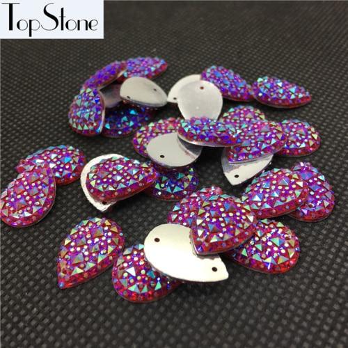 Каплевидные Пришивные бусины 100 шт 10x14 мм 13x18 мм цвета кристалл AB смолы Flatback пришивные стразы 2 отверстия для повседневного платья - Цвет: siam ab
