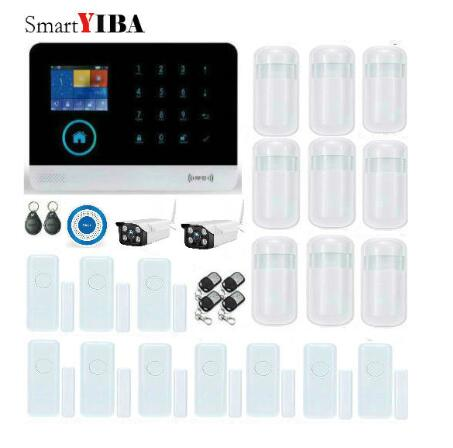 SmartYIBA Wireless SMS GSM&WIFI Smart Home Security Alarm Systems HD Waterproof Outdoor IP Camera+Wireless Flash Siren Alarm