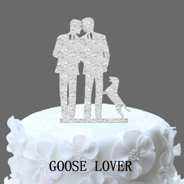 Gay Wedding Cake Topper With Dog Same Sex Silhouette Unique
