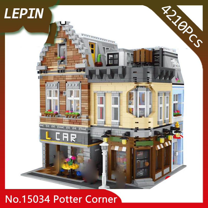 Lepin 15034 The Potter Corner MOC Street View Series 4210Pcs Building Blocks Bricks Compatible Toys for Children Doinbby Store lepin 15034 4210pcs street view series children dream home model building bricks blocks educational toys for children gift