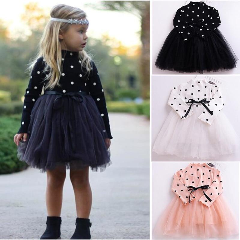 Новая модная весенняя одежда для маленьких девочек платье в горошек для малышей возрастом от 1 года до 4 лет черное, розовое, белое платье-пачка для малышей милый костюм для девочек