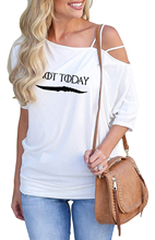 Drop shopping 2019 Arya Not Today Game Of Thrones New Print T Shirt Female Harajuku Off Shoulder Vintage T-Shirt Women Tops drop shoulder milk print high low t shirt