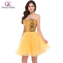 b2e91dade22a6d Grace Karin Gold Black Sequins robe de Cocktail Dresses 2018 Short Gown  Homecoming Party Dresses Mini Prom Coctail Dress 2513