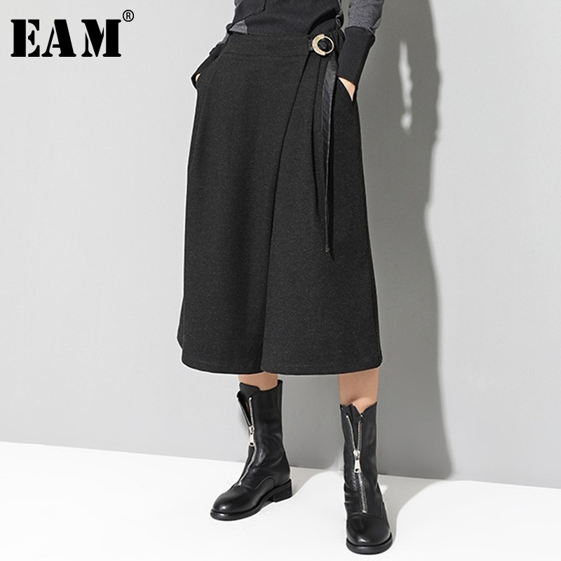 [EAM] 2019 New Spring High Waist Black Loose Bandage Split Joint Loose   Wide     Leg     Pants   Women Trousers Fashion Tide JI948