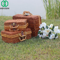 S M L Handmade Woven Basket Mini Rattan Suitcase Wicker Storage Basket Fruit Cosmetic Food Storage