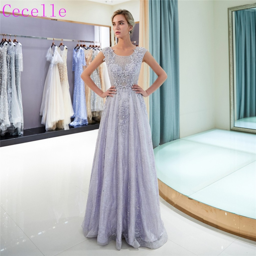 2019 New Lavender Lace A-line Long   Prom     Dress   Jewel Floor Length Women Formal Evening Party Gown