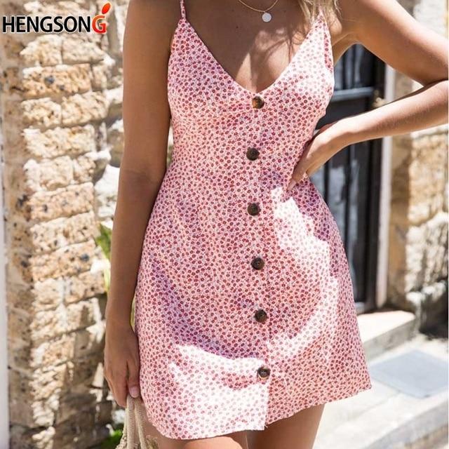 4ab79eecb6 Women Summer Dress Beach Sling Dress Polka Dot Print Dresses V Neck Sleeveless  Backless Sexy Dress