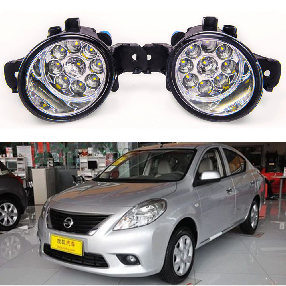 For NISSAN SUNNY 2008-2014 Car styling High brightness LED fog lights DRL lights 1SET for nissan sunny 2008 2014 car styling high brightness led fog lights drl lights 1set
