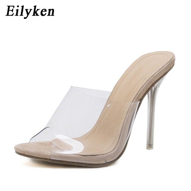 Eilyken 2019 PVC Gelatina Sandali Open Toe Alti Talloni Delle Donne Trasparente Perspex Pantofole Scarpe Tacco Trasparente Sandali formato 35- 42