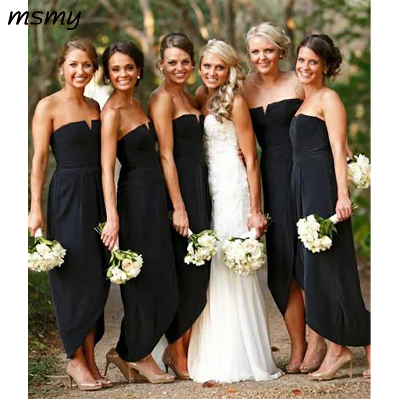 Simple A-Line   Bridesmaid     Dresses   Strapless Sheath Black Cheap Long   Bridesmaid     Dresses   Custom Made