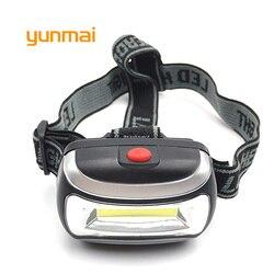 Mini Plastic Portable LED Headlight Powerful COB Headlamp Use 3xAAA Head Light Lamp Head Flashlight Torch For Camping Hiking