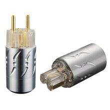 Viborg Liga De Alumínio Transparente VE512G + VF512G Puro Cobre Banhados A Ouro Plugue DA UE Tipo Hifi Schuko Power Plug & IEC conectores