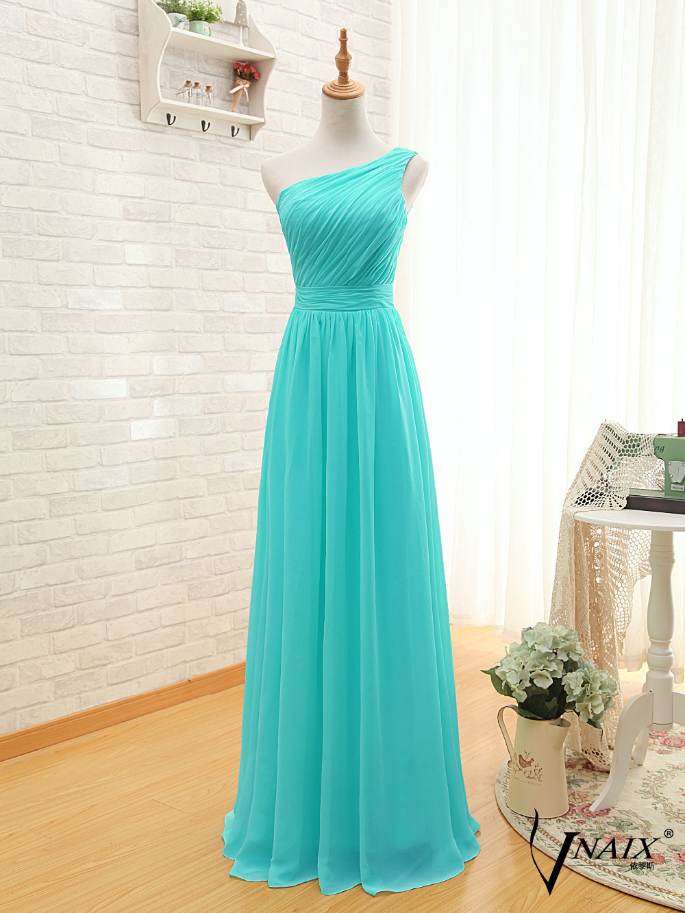 Compare prices on turquoise bridesmaid dresses chiffon online new simple elegant sleeveless one shoulder pleated top part a line long strapless chiffon turquoise ombrellifo Choice Image
