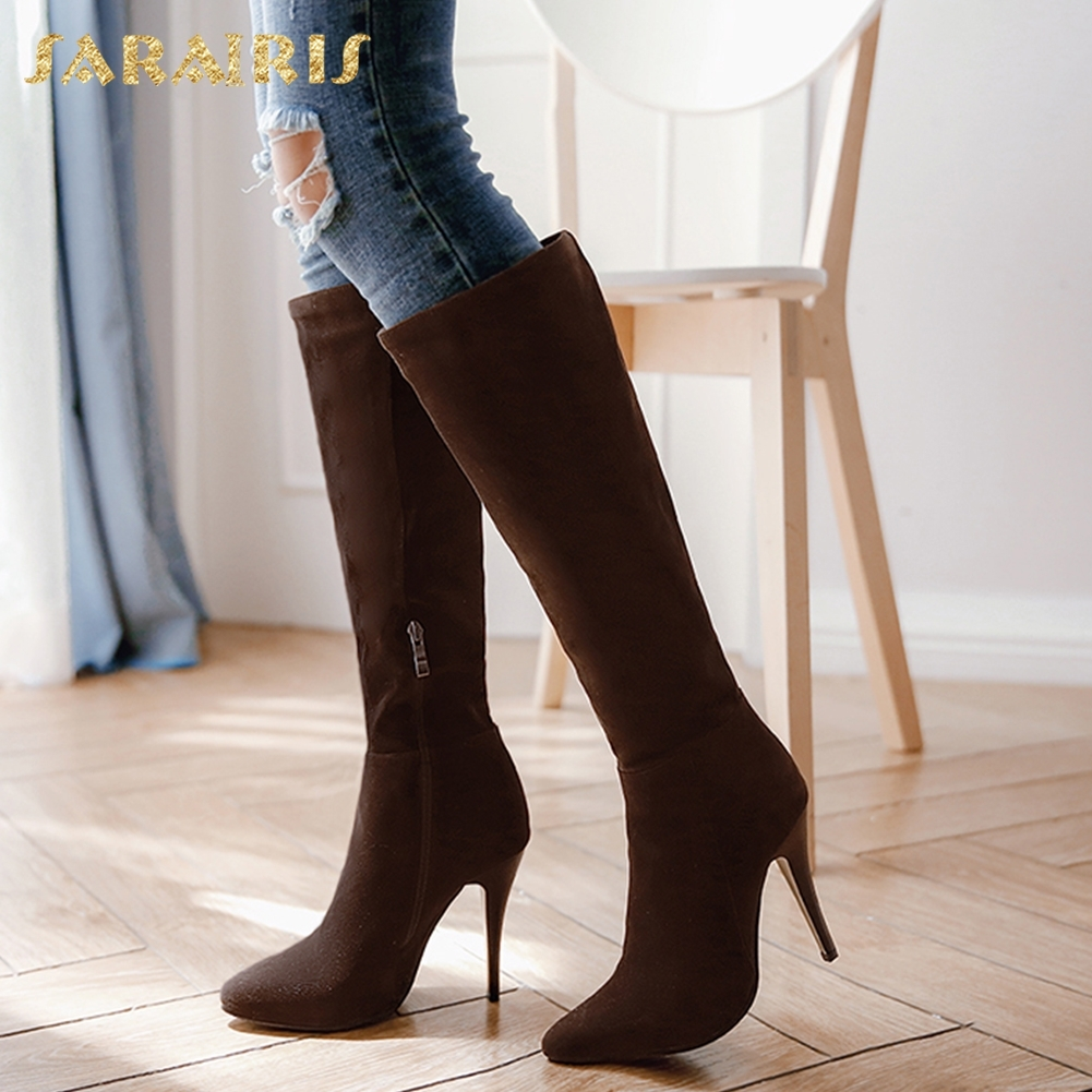 SARAIRIS Plus Size 32-48 High Quality Slip On Pointed Toe Shoes Woman Boots Sexy Thin High Heels Mid Calf Boots Shoes Woman цена