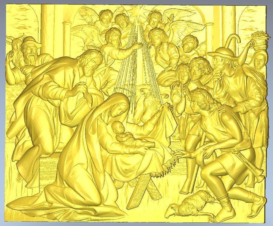 3d model relief  for cnc in STL file format Panno_Birth_of_Jesus exclusive 3d model relief for cnc in stl file format iconostas 1