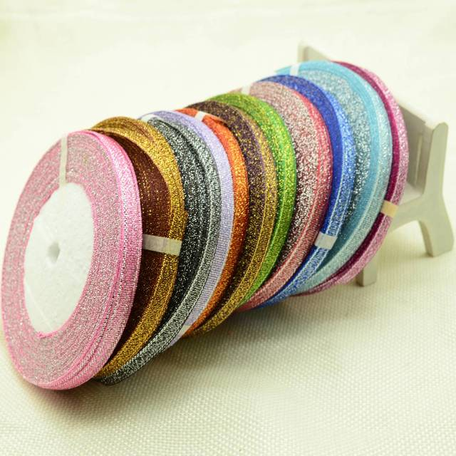 6mm 25Yards Silk Satin For Sewing Wedding Party Handmade Decoration Webbing Gift Packing Organza Polyester Gold silver Ribbon
