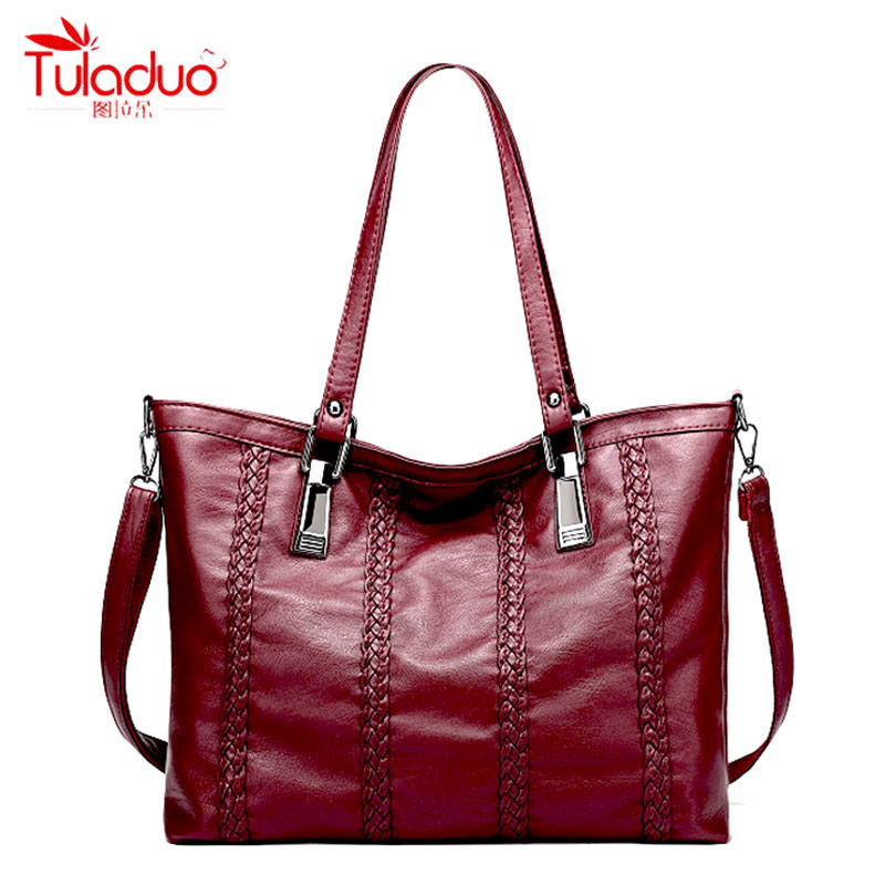 2017 Fashion Knitting Women Handbags High Quality PU Leather Ladies Shoulder Bags Famous Brand Black Women