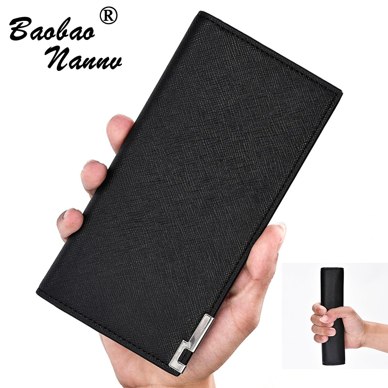 все цены на Ultrathin Wallet Men Leather Wallets Purse Creative Long Male Clutch Leather Wallet Holders Mens Money Bag Quality Guarantee