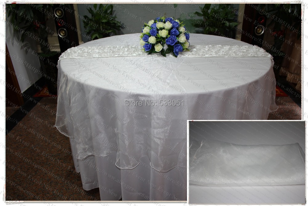 210cm Round No 13 White Color Organza Table Overlay Table