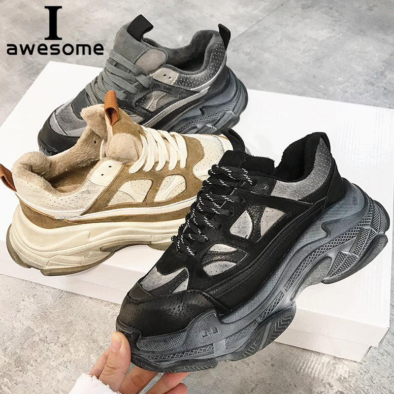 Retro Sujo Robusto das Mulheres Sapatilha Mulheres Pai Sneakers Sola Grossa Plataforma Do Vintage Sapatos de Couro Genuíno Apartamentos Senhoras Formadores
