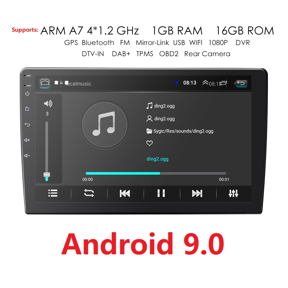 <font><b>9</b></font>/10.1 INCH <font><b>Android</b></font> <font><b>9</b></font>.0 GPS Navigation <font><b>Autoradio</b></font> Multimedia DVD Player Bluetooth WIFI MirrorLink OBD2 Universal <font><b>2Din</b></font> Car Radio image
